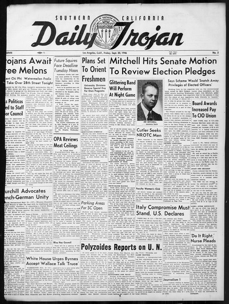 Daily Trojan, Vol. 38, No. 5, September 20, 1946