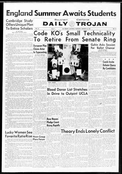 Daily Trojan, Vol. 52, No. 76, February 22, 1961