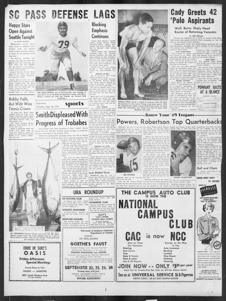 Daily Trojan, Vol. 41, No. 8, September 20, 1949