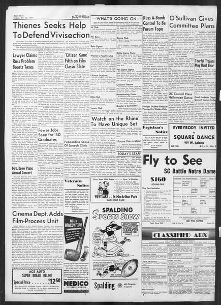 Daily Trojan, Vol. 41, No. 30, October 21, 1949