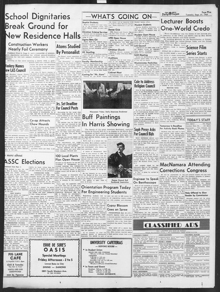 Daily Trojan, Vol. 41, No. 13, September 27, 1949