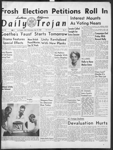 Daily Trojan, Vol. 41, No. 9, September 21, 1949