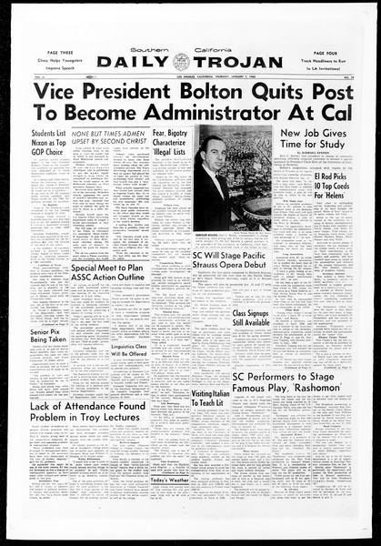 Daily Trojan, Vol. 51, No. 58, January 07, 1960