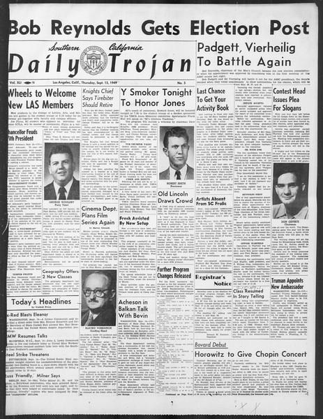 Daily Trojan, Vol. 41, No. 5, September 15, 1949