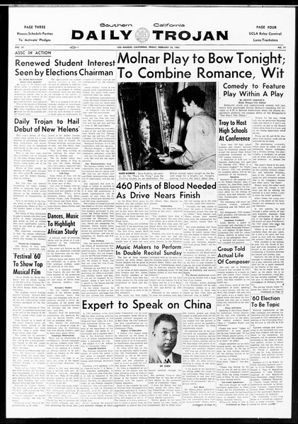 Daily Trojan, Vol. 52, No. 78, February 24, 1961