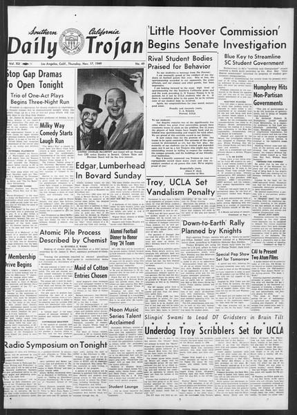 Daily Trojan, Vol. 41, No. 49, November 17, 1949
