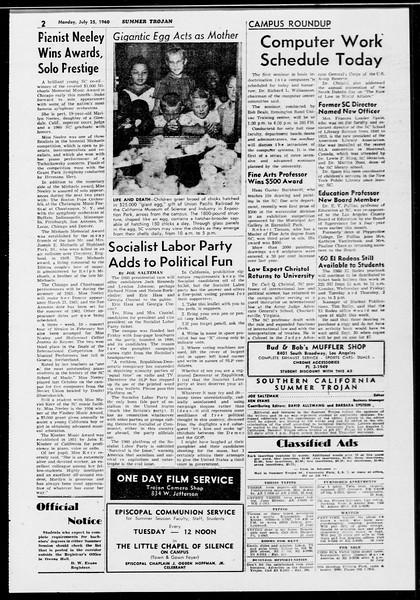 Summer Trojan, Vol. 10, No. 10, July 25, 1960