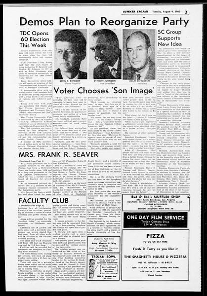 Summer Trojan, Vol. 10, No. 13, August 09, 1960