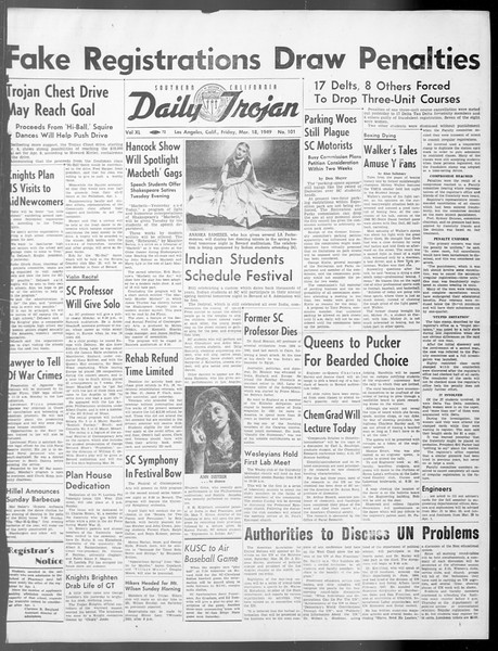 Daily Trojan, Vol. 40, No. 101, March 18, 1949
