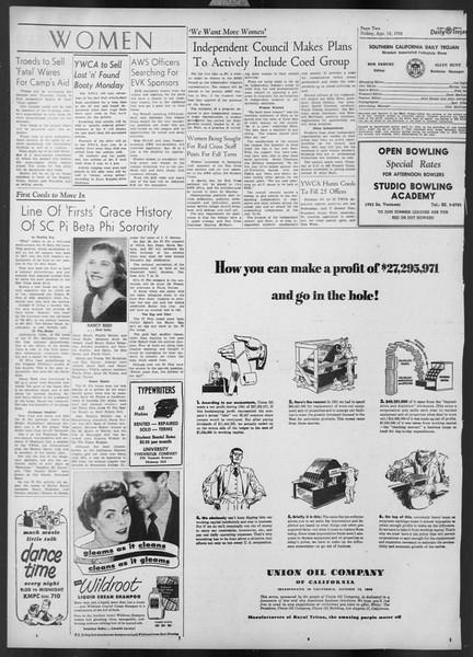 Daily Trojan, Vol. 43, No. 116, April 18, 1952