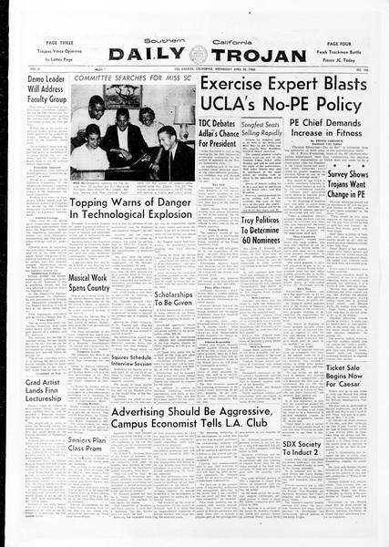 Daily Trojan, Vol. 51, No. 106, April 20, 1960