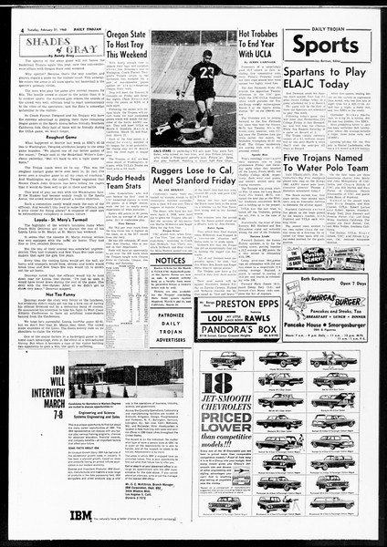 Daily Trojan, Vol. 52, No. 75, February 21, 1961