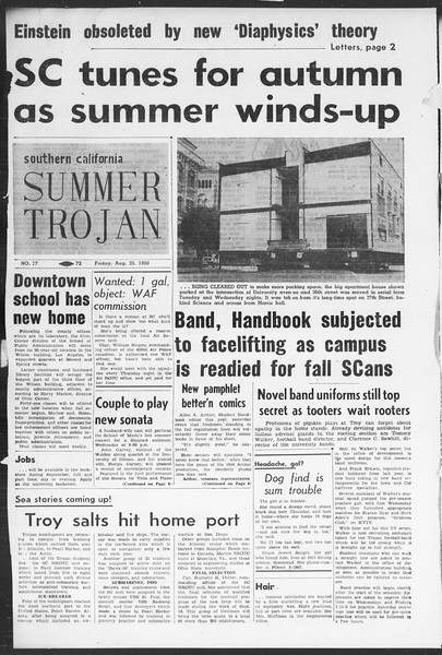Summer Trojan, Vol. 5, No. 17, August 25, 1950