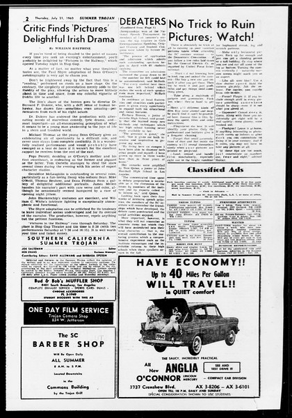 Summer Trojan, Vol. 10, No. 9, July 21, 1960