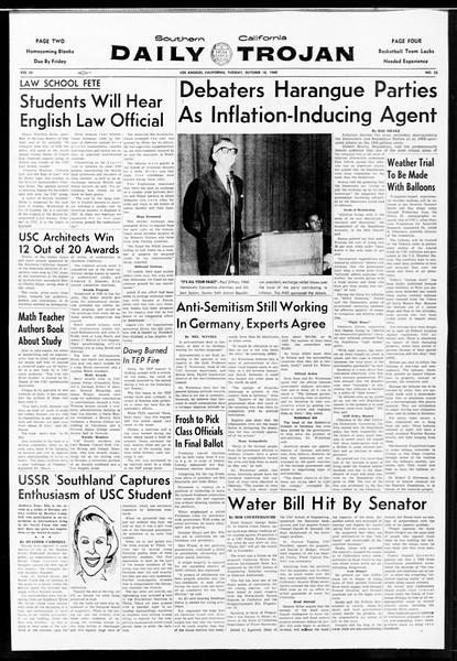 Daily Trojan, Vol. 52, No. 22, October 18, 1960