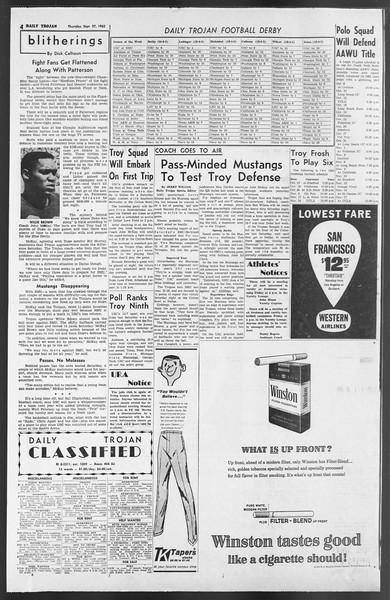 Daily Trojan, Vol. 54, No. 4, September 27, 1962