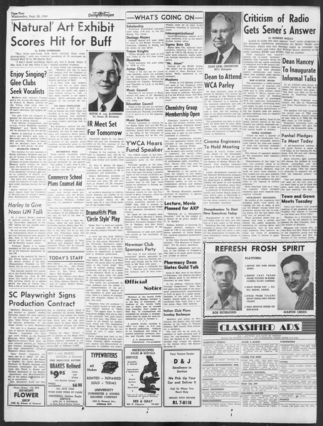 Daily Trojan, Vol. 41, No. 14, September 28, 1949