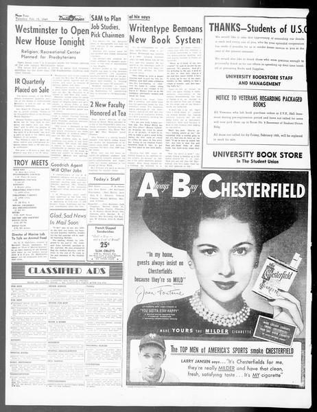 Daily Trojan, Vol. 40, No. 79, February 15, 1949