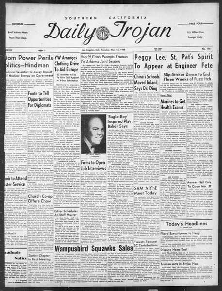 Daily Trojan, Vol. 39, No. 100, March 16, 1948