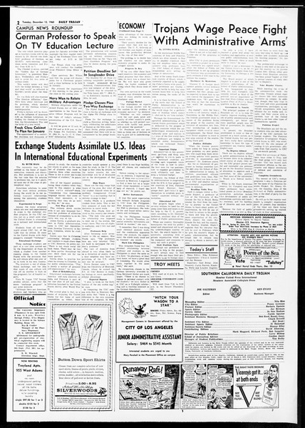Daily Trojan, Vol. 52, No. 58, December 13, 1960