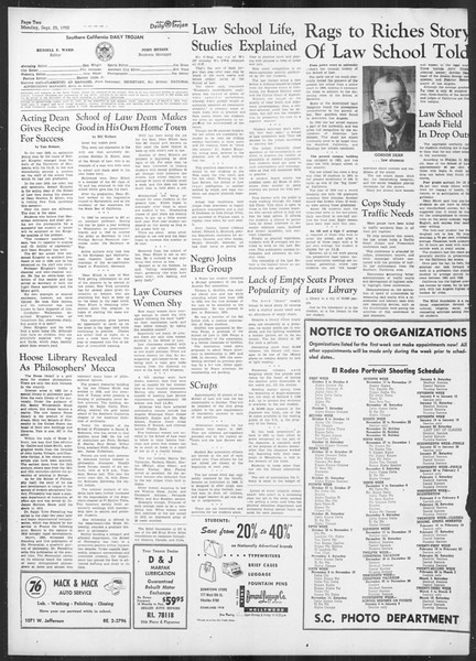 Daily Trojan, Vol. 42, No. 6, September 25, 1950
