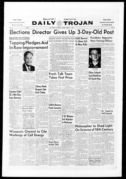 Daily Trojan, Vol. 51, No. 75, March 01, 1960