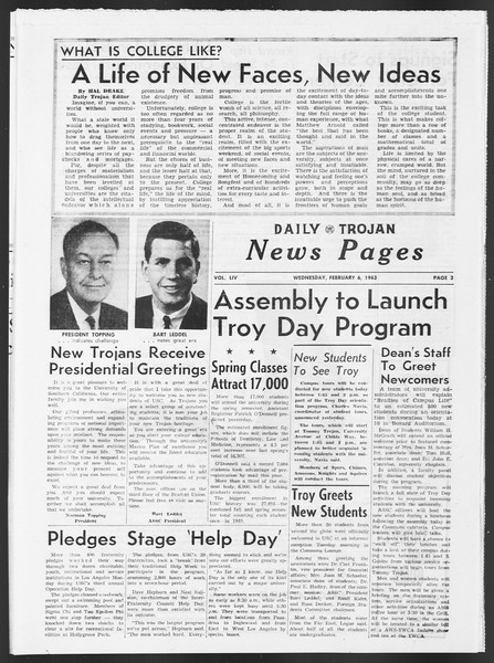 Daily Trojan, Vol. 54, No. 59, February 06, 1963