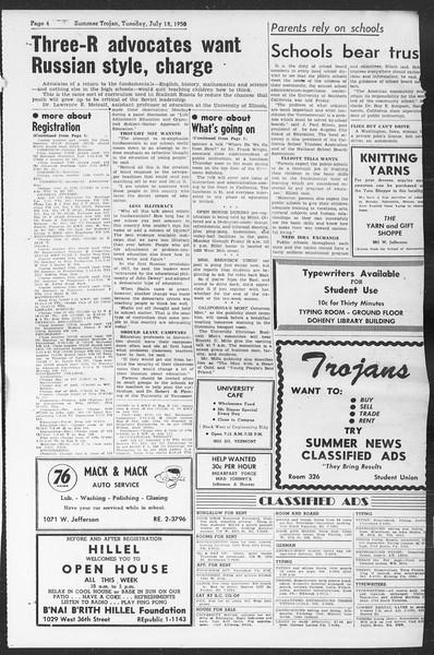 Summer Trojan, Vol. 5, No. 6, July 18, 1950