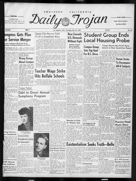 Daily Trojan, Vol. 38, No. 84, February 27, 1947