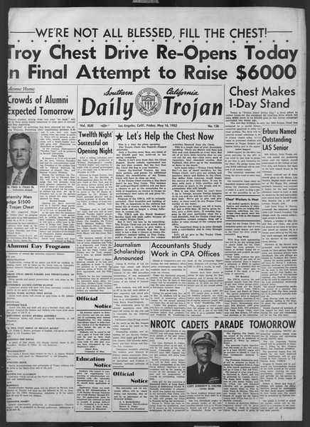 Daily Trojan, Vol. 43, No. 136, May 16, 1952