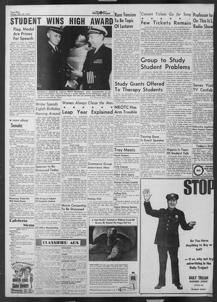 Daily Trojan, Vol. 43, No. 86, February 29, 1952