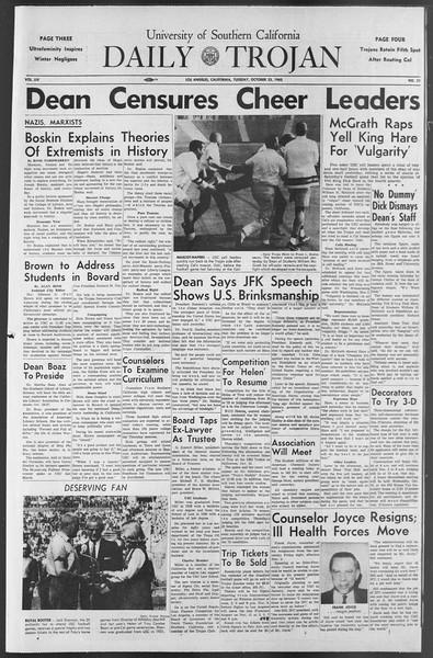 Daily Trojan, Vol. 54, No. 21, October 23, 1962