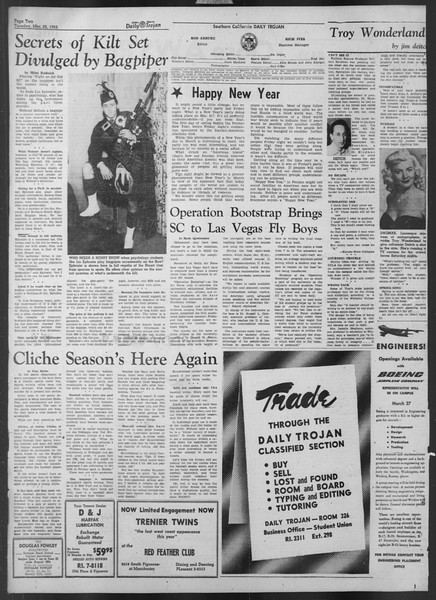 Daily Trojan, Vol. 43, No. 103, March 25, 1952