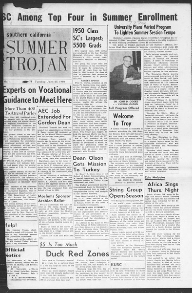 Summer Trojan, Vol. 5, No. 1, June 27, 1950