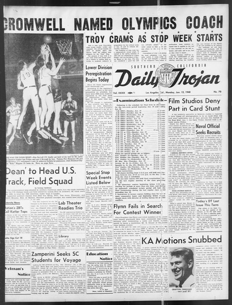 Daily Trojan, Vol. 39, No. 73, January 12, 1948
