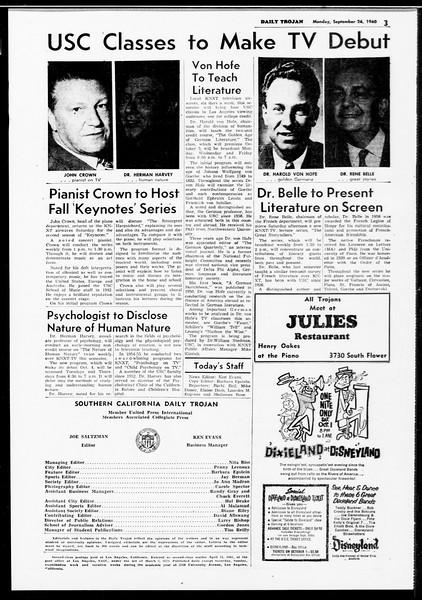 Daily Trojan, Vol. 52, No. 6, September 26, 1960