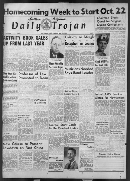 Daily Trojan, Vol. 44, No. 2, September 16, 1952