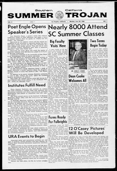 Summer Trojan, Vol. 10, No. 1, June 20, 1960
