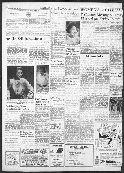 Daily Trojan, Vol. 41, No. 76, February 15, 1950