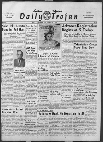 Daily Trojan, Vol. 44, No. 66, January 06, 1953