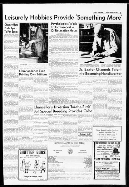 Daily Trojan, Vol. 52, No. 11, October 03, 1960