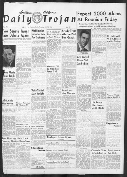 Daily Trojan, Vol. 42, No. 17, October 10, 1950