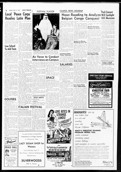 Daily Trojan, Vol. 52, No. 106, April 17, 1961