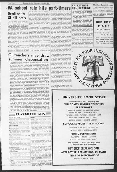 Summer Trojan, Vol. 5, No. 16, August 22, 1950