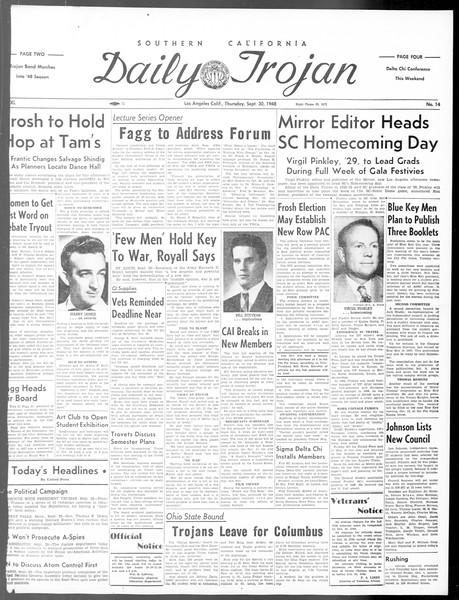 Daily Trojan, Vol. 40, No. 14, September 30, 1948