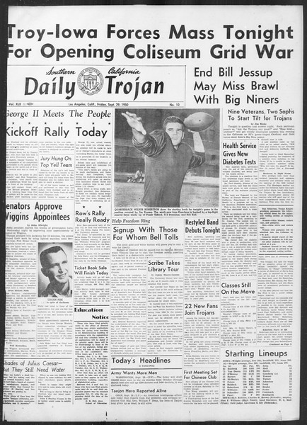 Daily Trojan, Vol. 42, No. 10, September 29, 1950