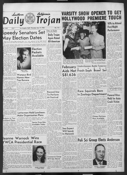 Daily Trojan, Vol. 43, No. 115, April 17, 1952