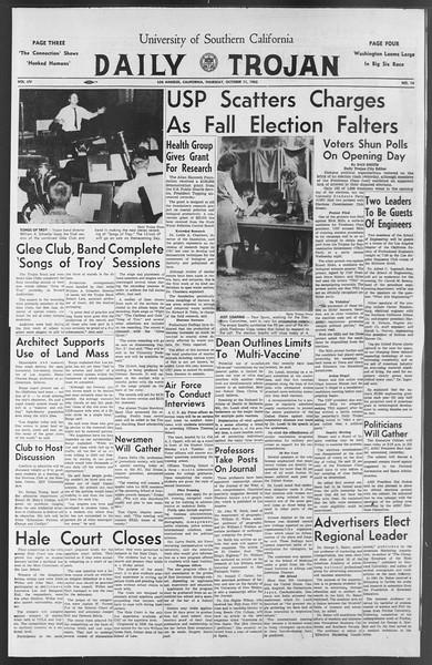 Daily Trojan, Vol. 54, No. 14, October 11, 1962