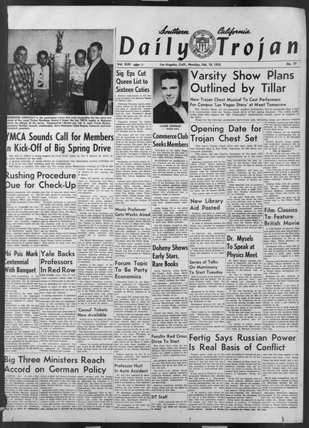 Daily Trojan, Vol. 43, No. 77, February 18, 1952