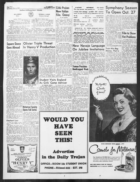 Daily Trojan, Vol. 41, No. 20, October 06, 1949